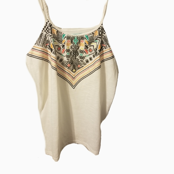 Maurices cream bold embroidered look tribal print